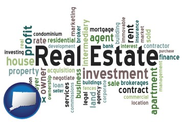 real estate concept words with Connecticut map icon