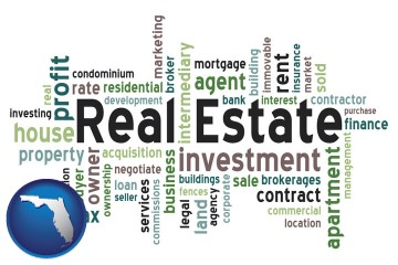 real estate concept words with Florida map icon