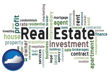 real estate concept words with Kentucky map icon