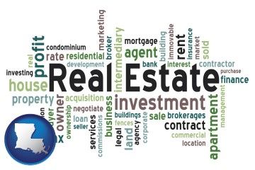 real estate concept words with Louisiana map icon