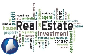 real estate concept words with Maine map icon