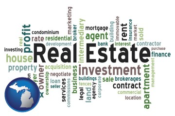 real estate concept words with Michigan map icon