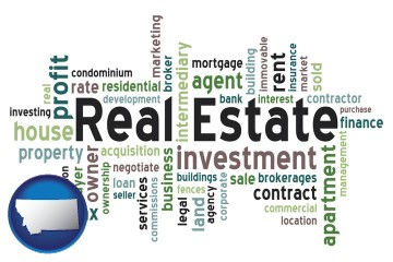 real estate concept words with Montana map icon