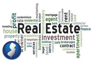 real estate concept words with New Jersey map icon