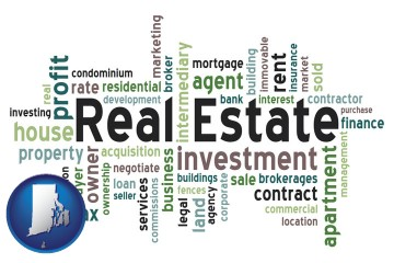 real estate concept words with Rhode Island map icon
