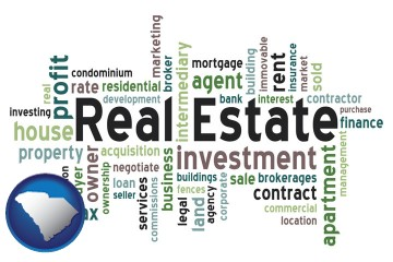 real estate concept words with South Carolina map icon