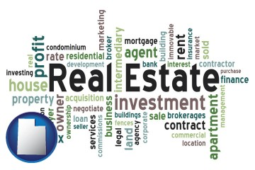 real estate concept words with Utah map icon