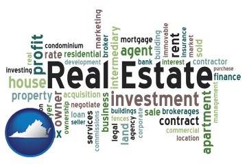 real estate concept words with Virginia map icon
