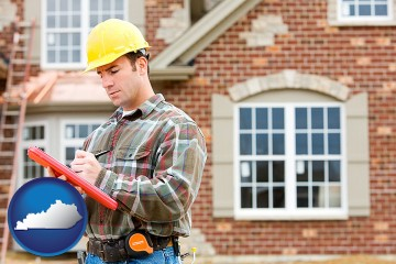 a home inspector with Kentucky map icon
