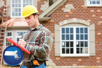 a home inspector with Massachusetts map icon