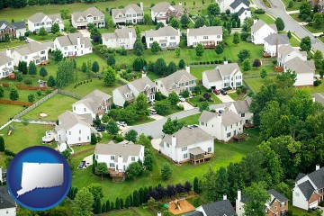 a housing development with Connecticut map icon