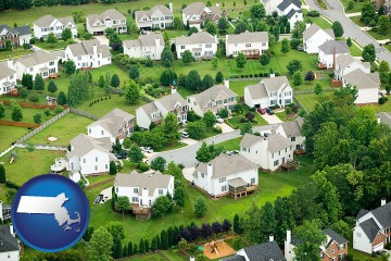 a housing development with Massachusetts map icon