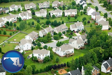 a housing development with Maryland map icon