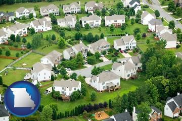 a housing development with Missouri map icon