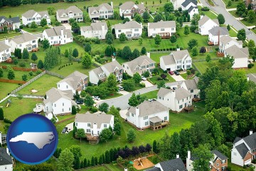 a housing development with North Carolina map icon