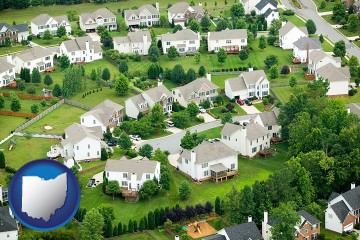 a housing development with Ohio map icon