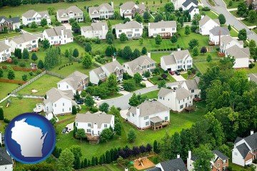 a housing development with Wisconsin map icon