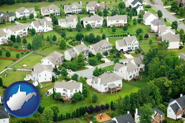 a housing development with West Virginia map icon