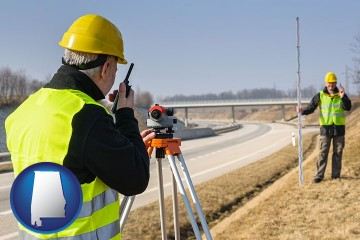 land surveyors surveying a highway with Alabama map icon