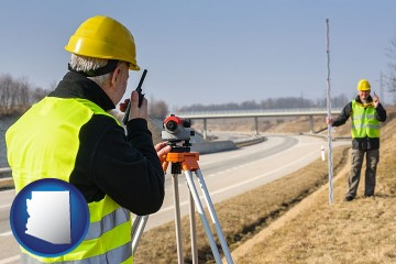 land surveyors surveying a highway with Arizona map icon