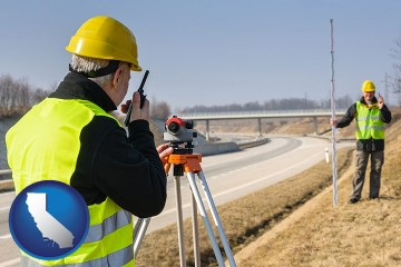 land surveyors surveying a highway with California map icon