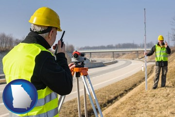 land surveyors surveying a highway with Georgia map icon