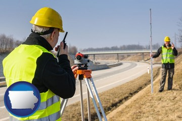 land surveyors surveying a highway with Iowa map icon