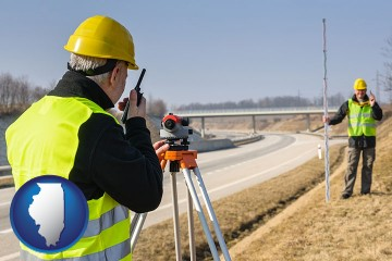 land surveyors surveying a highway with Illinois map icon