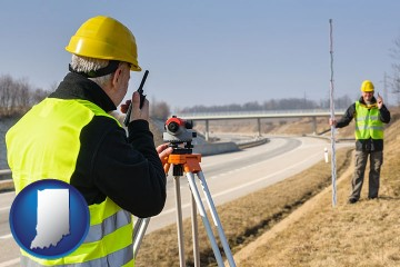 land surveyors surveying a highway with Indiana map icon