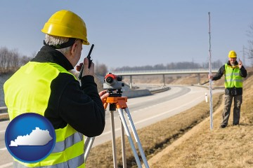 land surveyors surveying a highway with Kentucky map icon