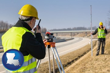land surveyors surveying a highway with Louisiana map icon