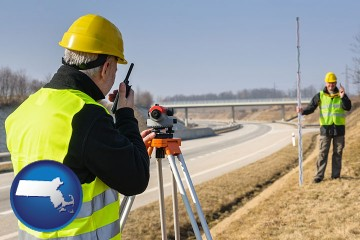 land surveyors surveying a highway with Massachusetts map icon