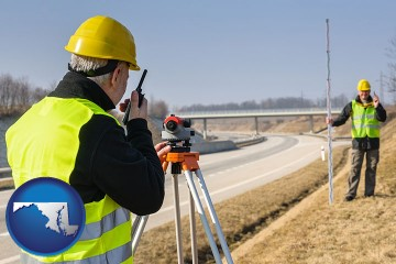 land surveyors surveying a highway with Maryland map icon
