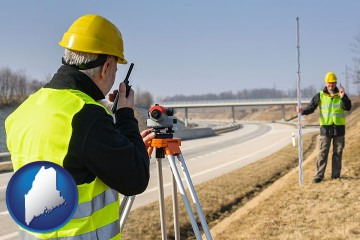 land surveyors surveying a highway with Maine map icon