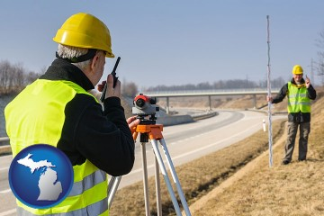 land surveyors surveying a highway with Michigan map icon