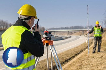 land surveyors surveying a highway with Mississippi map icon