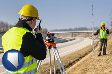 land surveyors surveying a highway with Nevada map icon