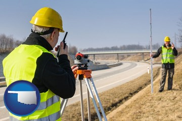 land surveyors surveying a highway with Oklahoma map icon