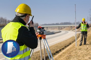 land surveyors surveying a highway with Rhode Island map icon