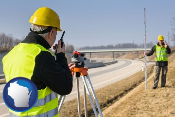 land surveyors surveying a highway with Wisconsin map icon