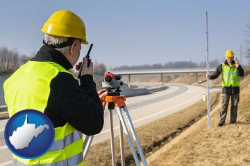 land surveyors surveying a highway with West Virginia map icon