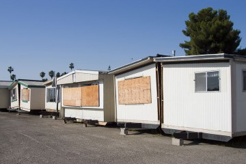 a row of used mobile homes