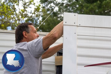a mobile home repair with Louisiana map icon