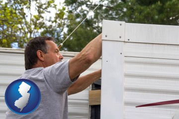 a mobile home repair with New Jersey map icon