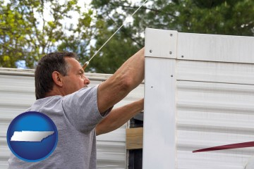 a mobile home repair with Tennessee map icon