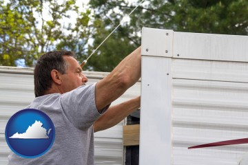 a mobile home repair with Virginia map icon