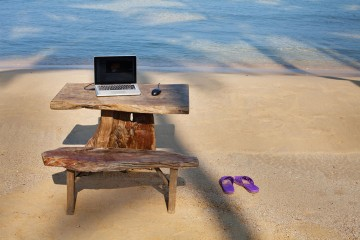 a mobile office at the seashore