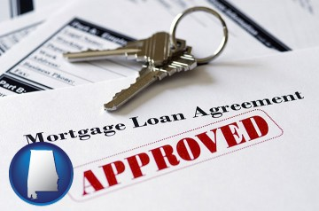 an approved mortgage loan agreement with Alabama map icon