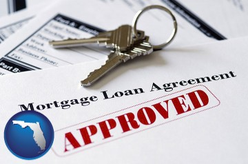 an approved mortgage loan agreement with Florida map icon