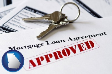 an approved mortgage loan agreement with Georgia map icon